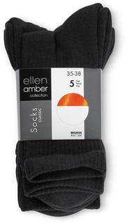 Ellen Amber Damen Socken 5Er_35-38,Schwarz